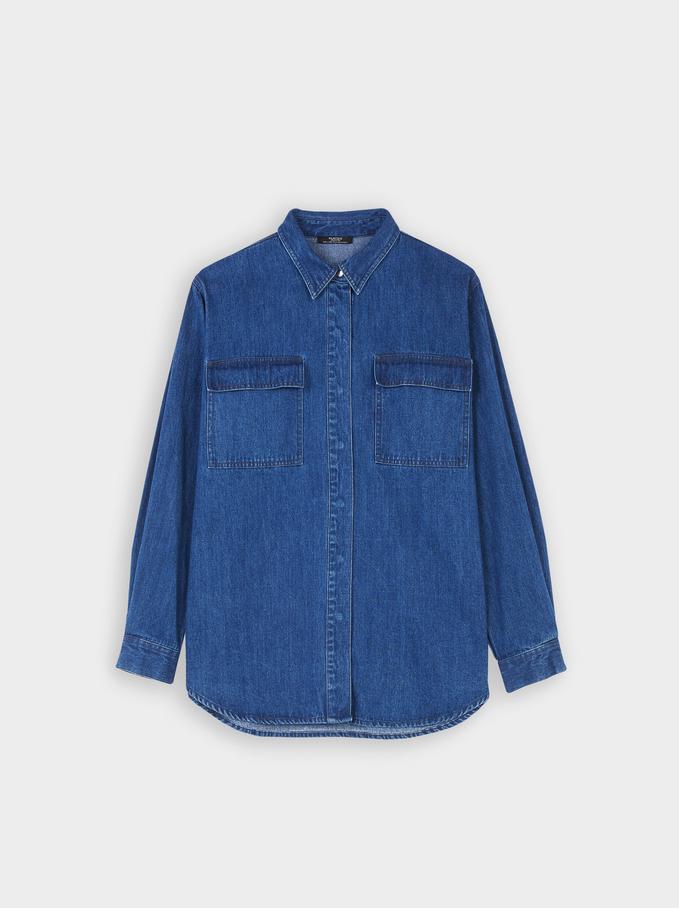 Denim Shirt With Pockets, Blue, hi-res