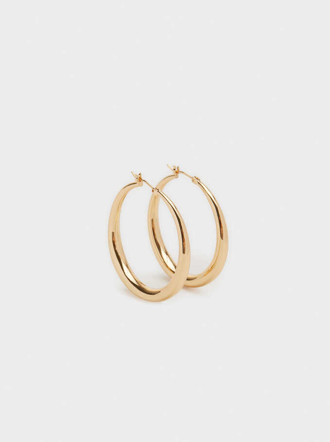 Basic Medium Hoop Earrings, Golden, hi-res