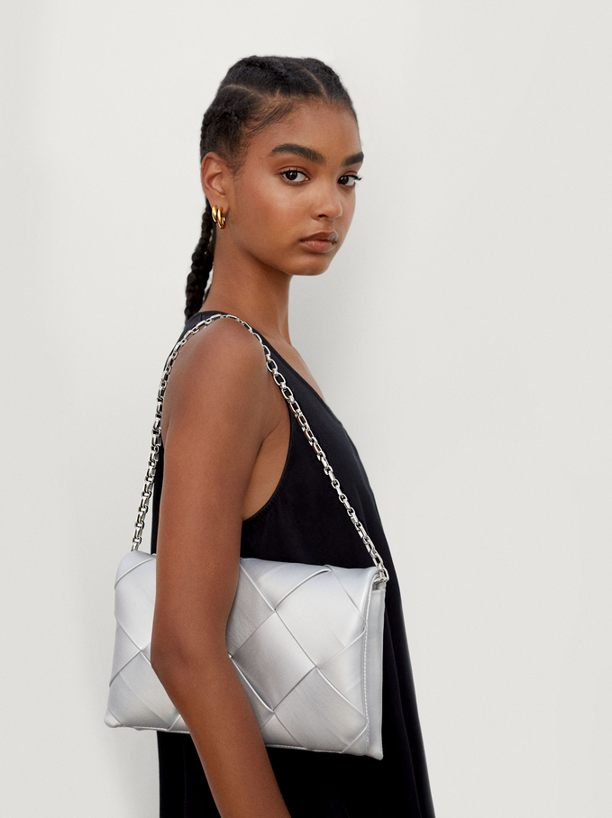 Braided Handbag With Double Strap, Silver, hi-res