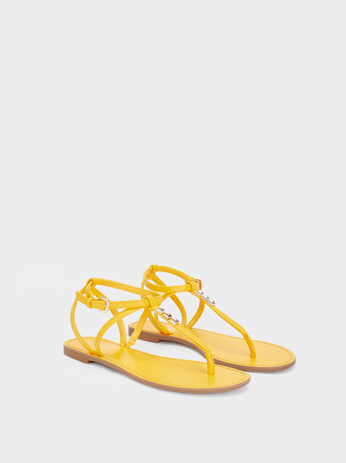 Flat Sandals With Stud Details, Yellow, hi-res