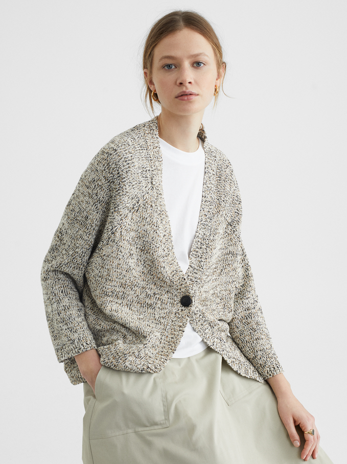 Knit Cardigan, Beige, hi-res