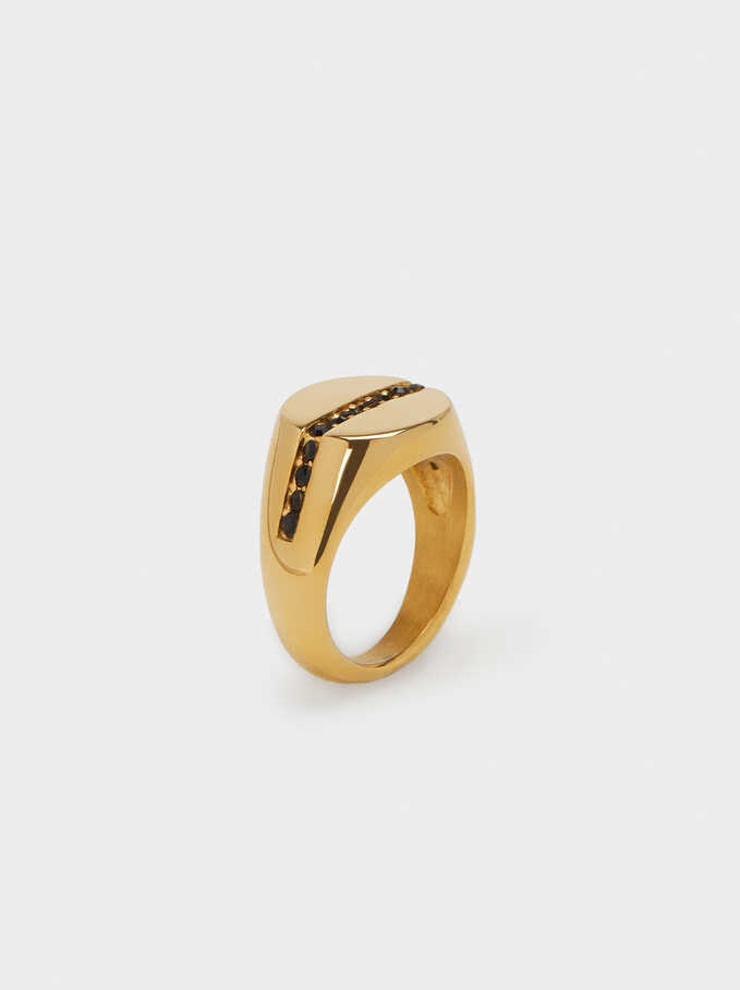 Diamanté Steel Ring, Golden, hi-res