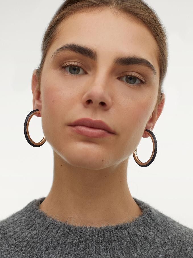 Large Hoop Earrings With Stones, Black, hi-res