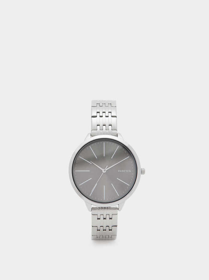 Watch With Stainless Steel Strap And Contrasting Face, Silver, hi-res