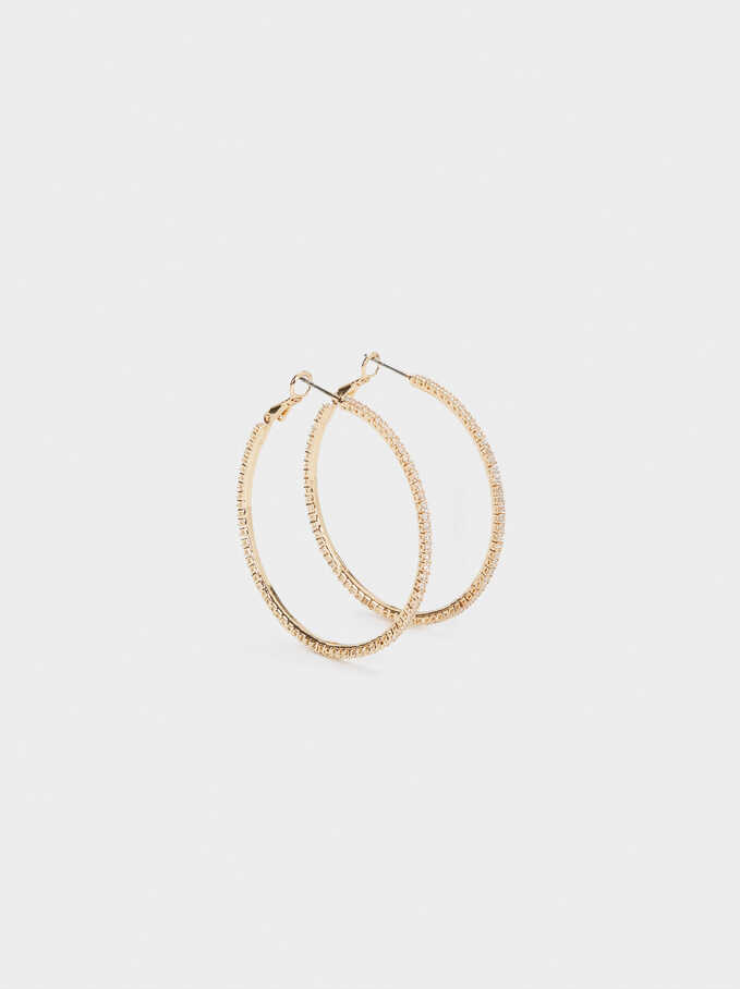 Large Hoop Earrings With Crystals, Golden, hi-res