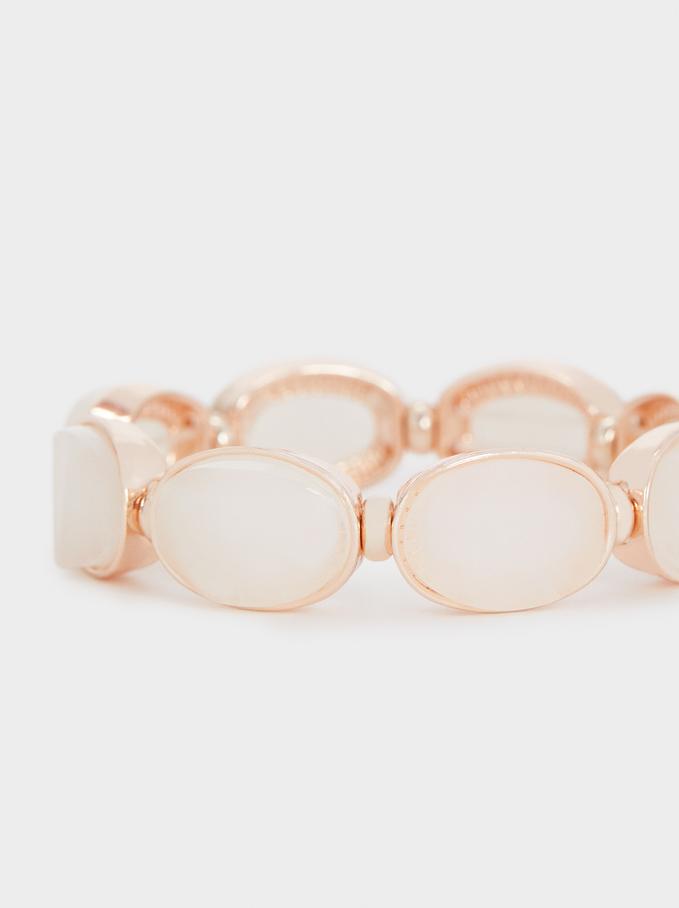 Elastic Rose Gold Resin Bracelet, Orange, hi-res