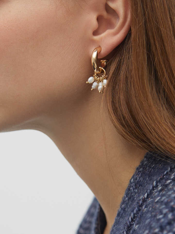 Short Gold Metal Earrings With Faux Pearl Detail, , hi-res