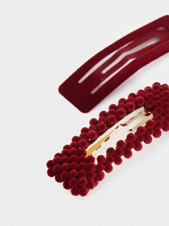Set Of Velvet Hair Clips, Bordeaux, hi-res