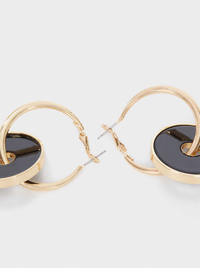 Medium Hoop Earrings With Multicoloured Circle Detail, Black, hi-res