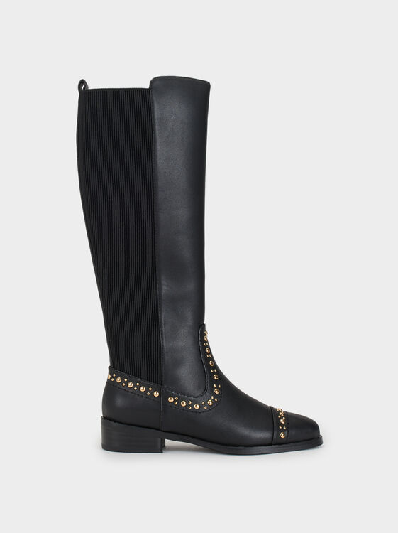 High-Leg Boots With Studs Online Exclusive, , hi-res