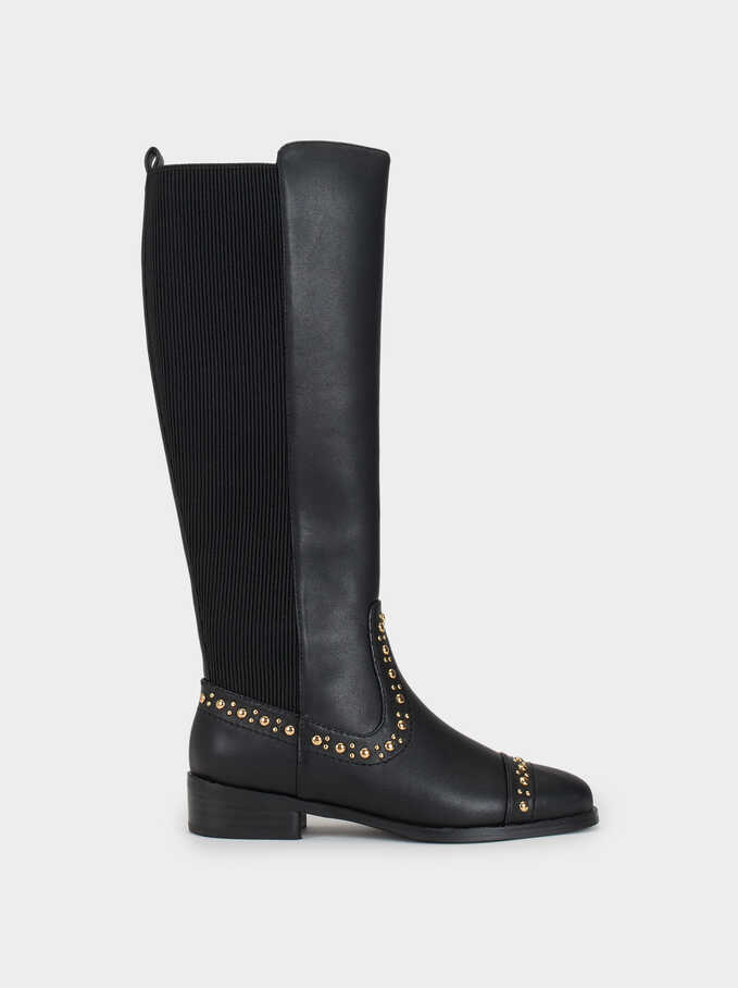High-Leg Boots With Studs Online Exclusive, Black, hi-res