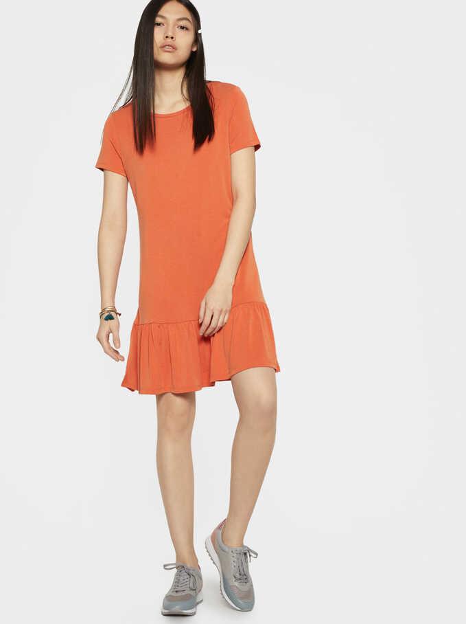 Short Sleeve Dress With Ruffle, Orange, hi-res
