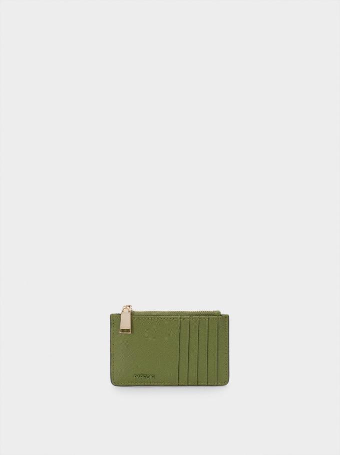 Plain Card Holder Purse, Green, hi-res
