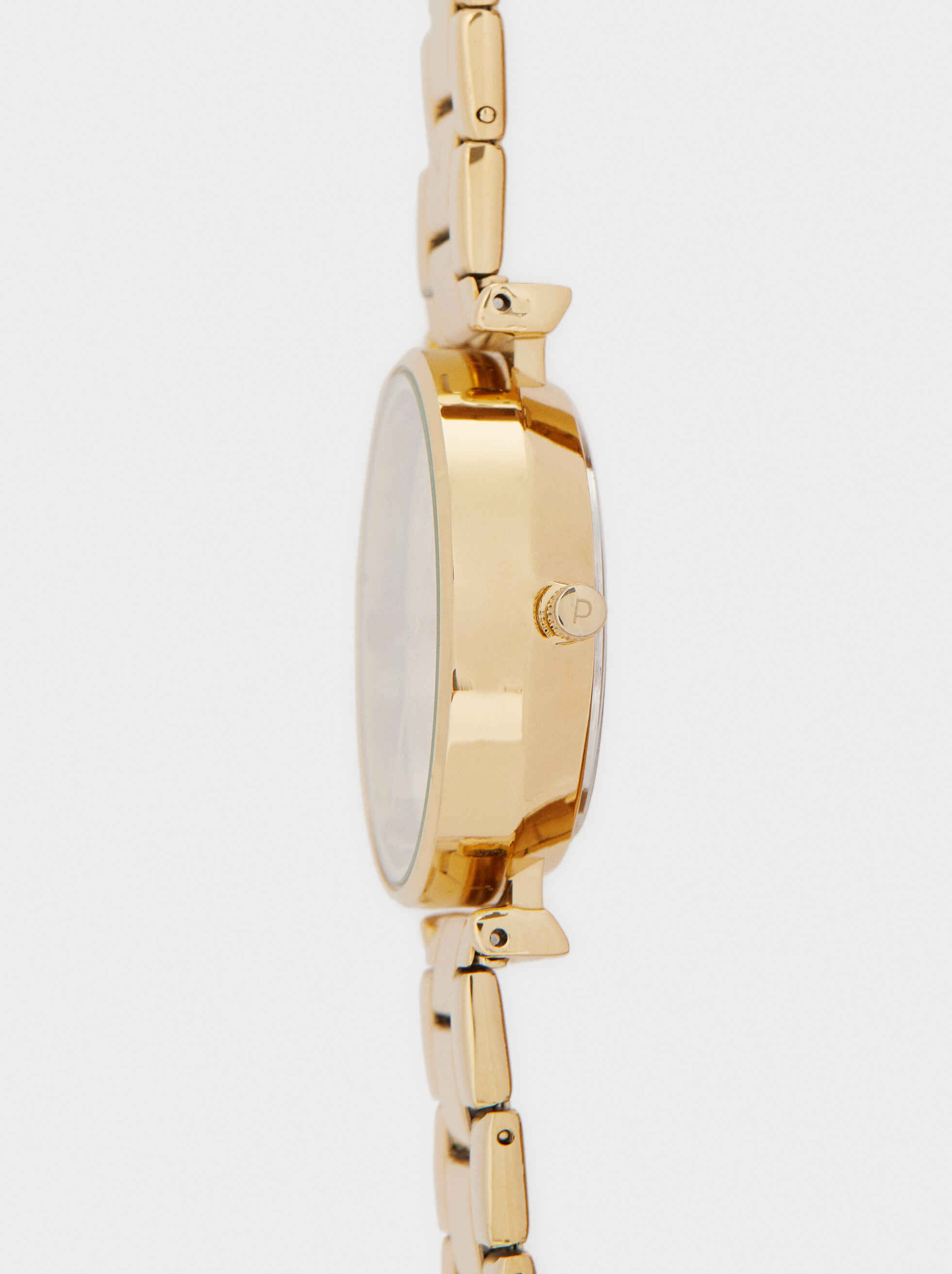 Watch And Necklace Set, Golden, hi-res