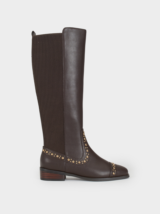 High-Leg Boots With Studs Online Exclusive, Brown, hi-res