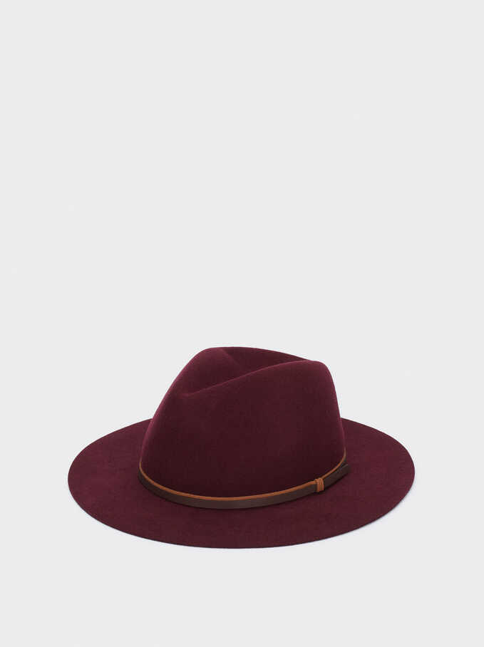 Woollen Hat With Contrast Band, Bordeaux, hi-res