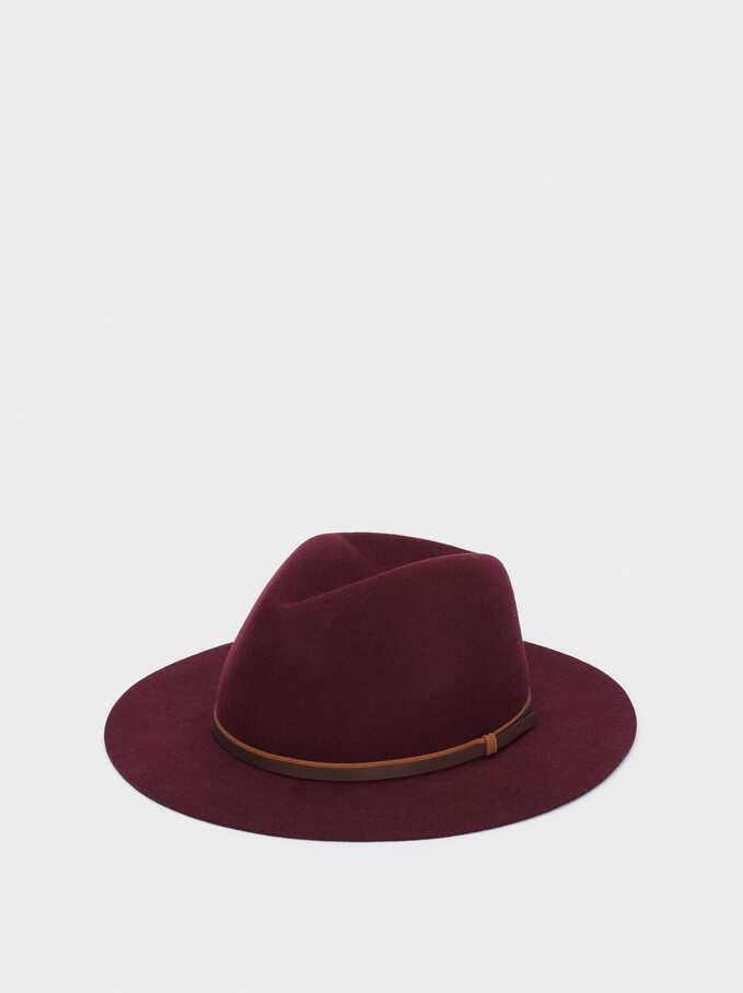 Sombrero De Lana Con Cinta A Contraste, Burdeos, hi-res