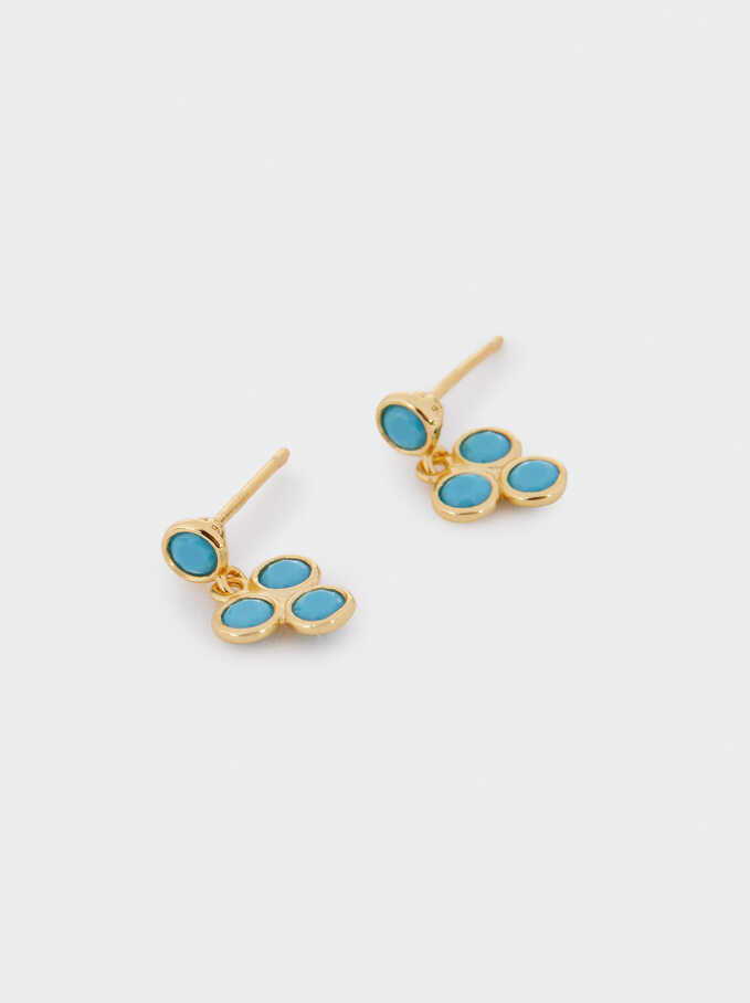 Short 925 Silver Stones Earrings, Blue, hi-res