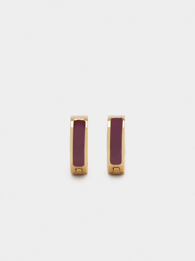 Stainless Steel Small Hoop Earrings, Bordeaux, hi-res