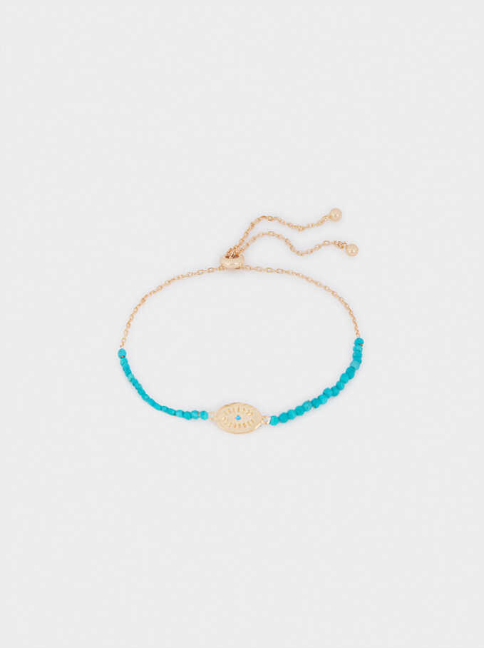925 Silver Stone Bracelet With Eye, Blue, hi-res