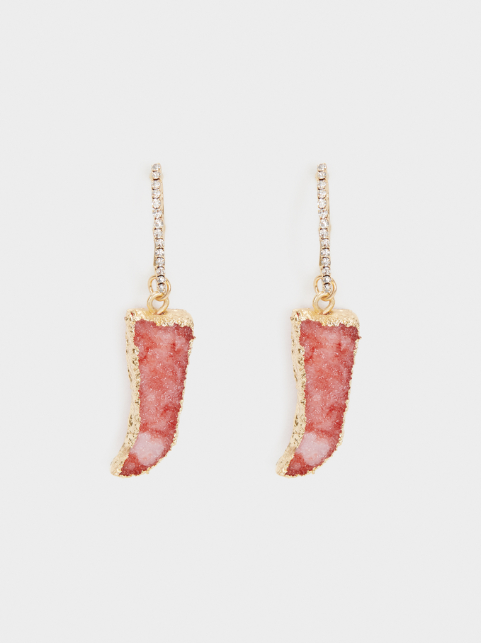 Petrified Large Hoop Earrings, Pink, hi-res