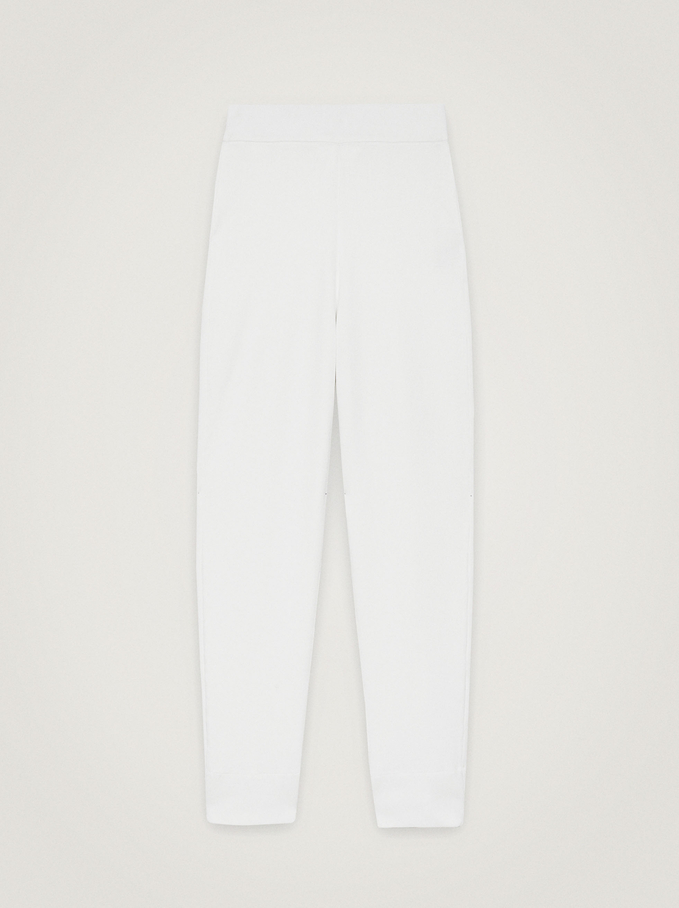 Jogger-Style Trousers, White, hi-res