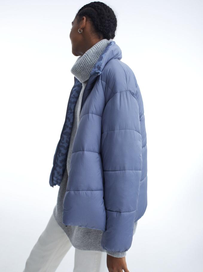 Manteau Rembourré À Poches, Bleu, hi-res