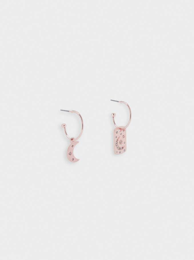 Hoop Earrings With Moon, Orange, hi-res
