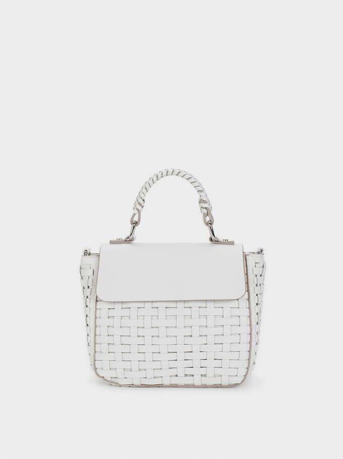 Braided Crossbody Bag, White, hi-res
