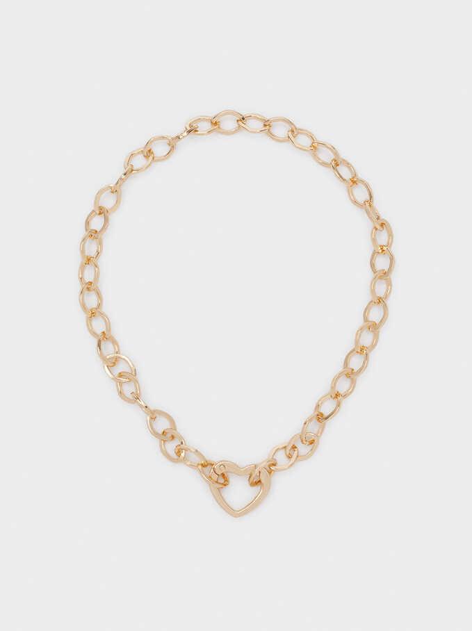 Short Gold Heart Necklace, Golden, hi-res