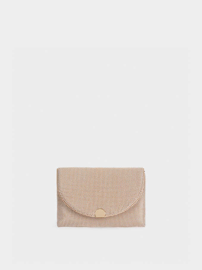 Mesh Party Clutch, Golden, hi-res