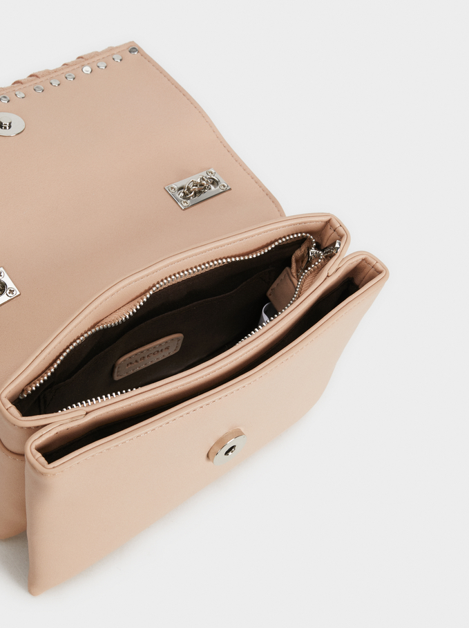Suede Lydia Crossbody Bag With Studs, Pink, hi-res