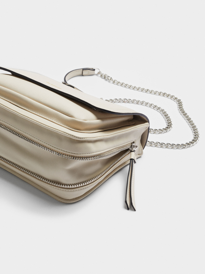 Crossbody Bag With Chain Handle, Ecru, hi-res