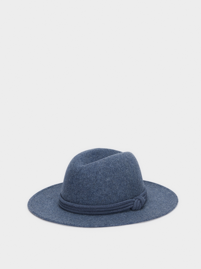 Woollen Hat With Knot Band, Blue, hi-res