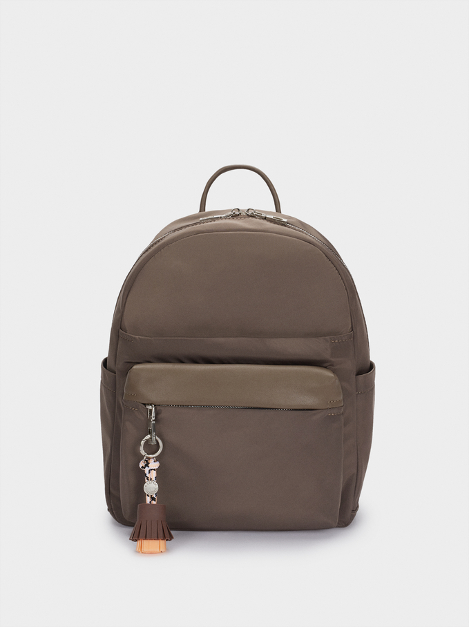 Nylonowy Plecak Z Ozdobnym Chwostem, Brazowy, hi-res