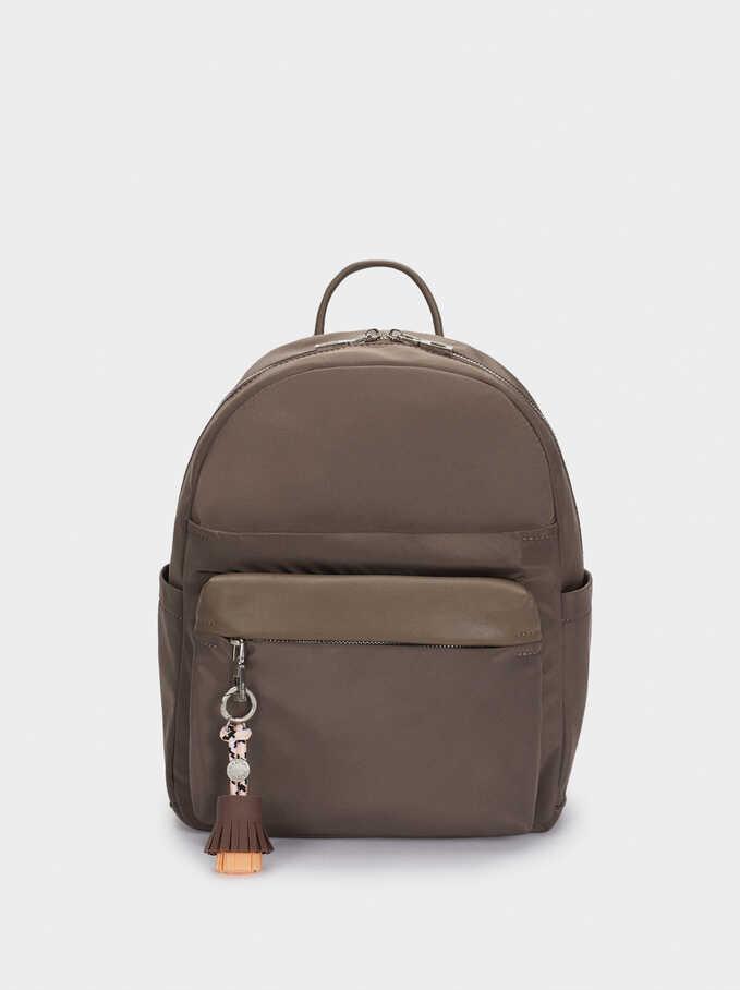 Nylon Backpack With Tassel Detail, Brown, hi-res