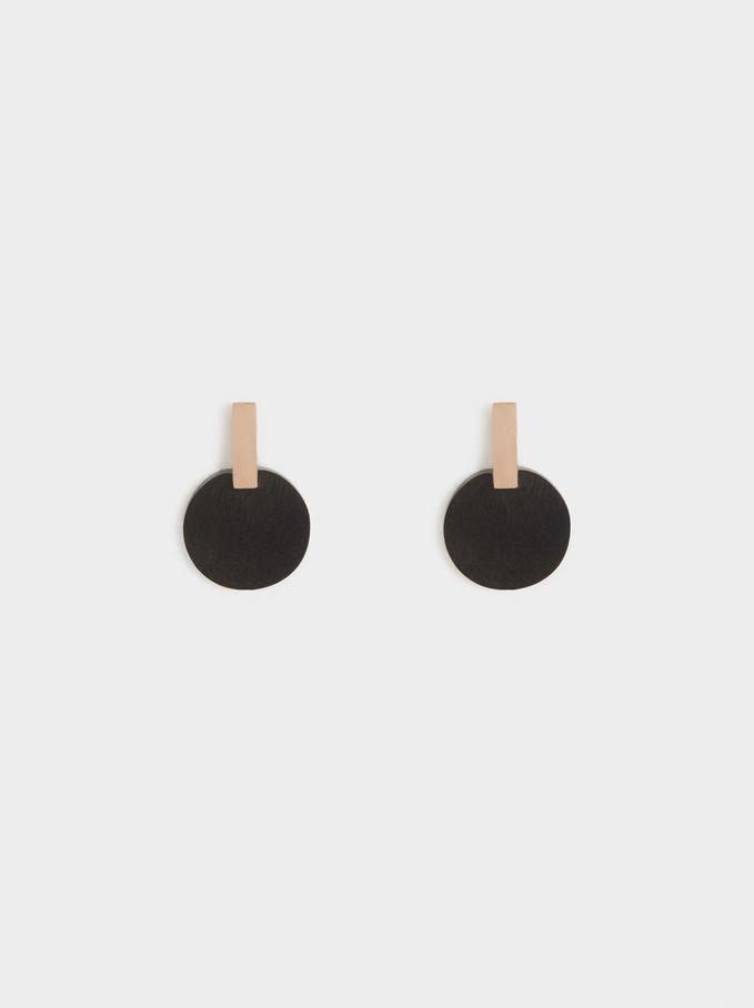 Two-Tone Steel Short Earrings, Orange, hi-res