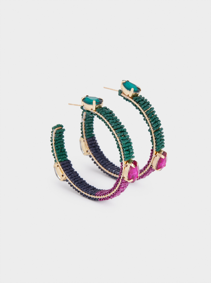 Large Hoop Earrings With Crystals, Multicolor, hi-res