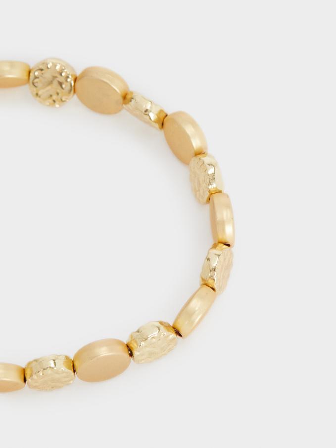 Gold Elasticated Bracelet, Golden, hi-res