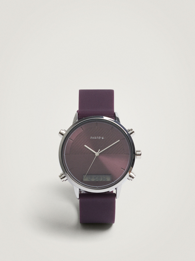 Watch With Silicone Strap And Round Face, Purple, hi-res