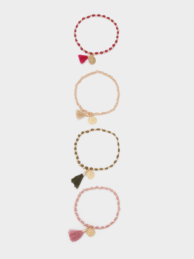 Set Of Elastic Bracelets With Beads, Red, hi-res