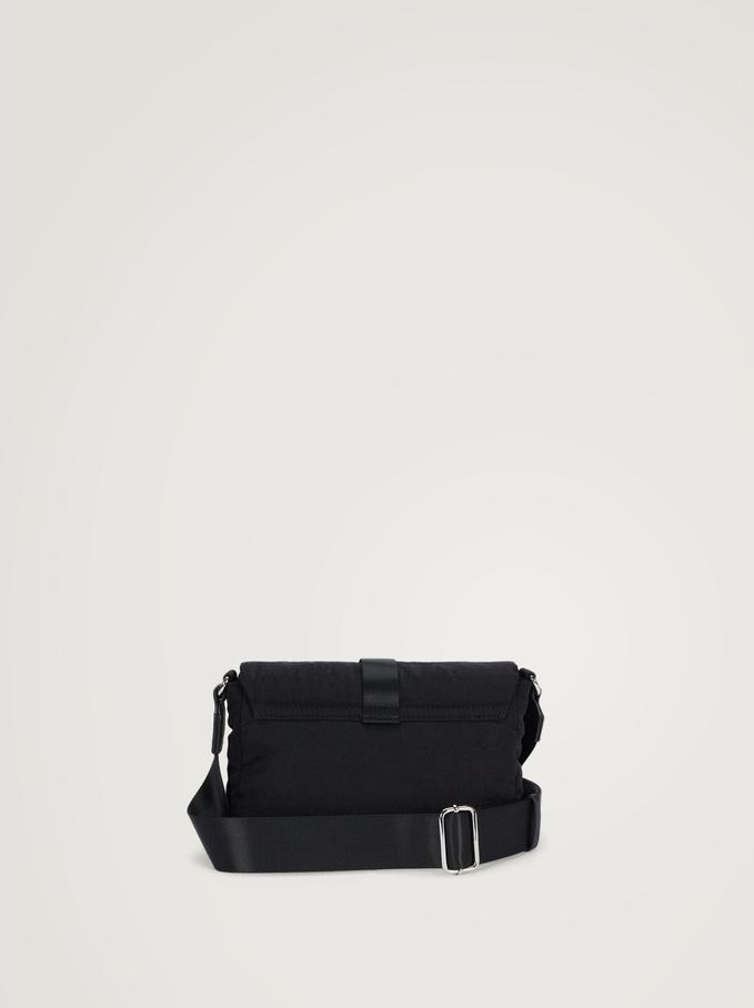 Nylon Crossbody Bag With Buckle, Black, hi-res