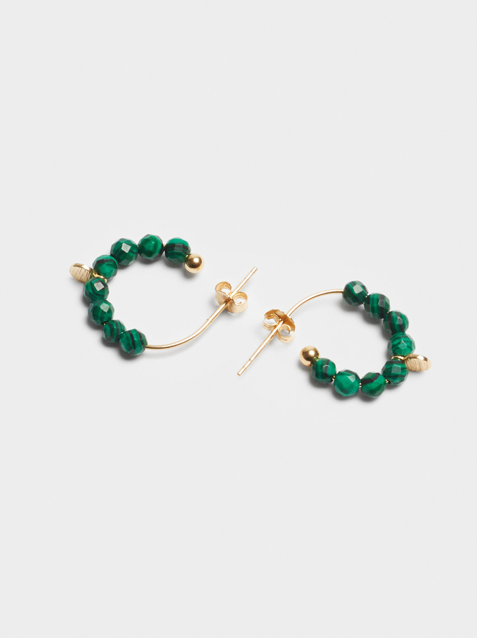 Small 925 Sterling Silver Hoops With Stones, Green, hi-res