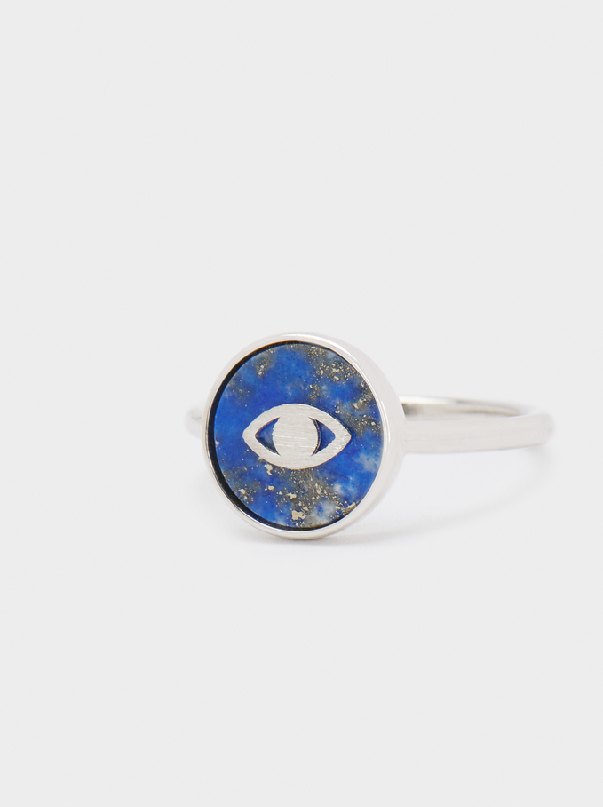 Silver 925 Ring With Stone And Eye, Blue, hi-res