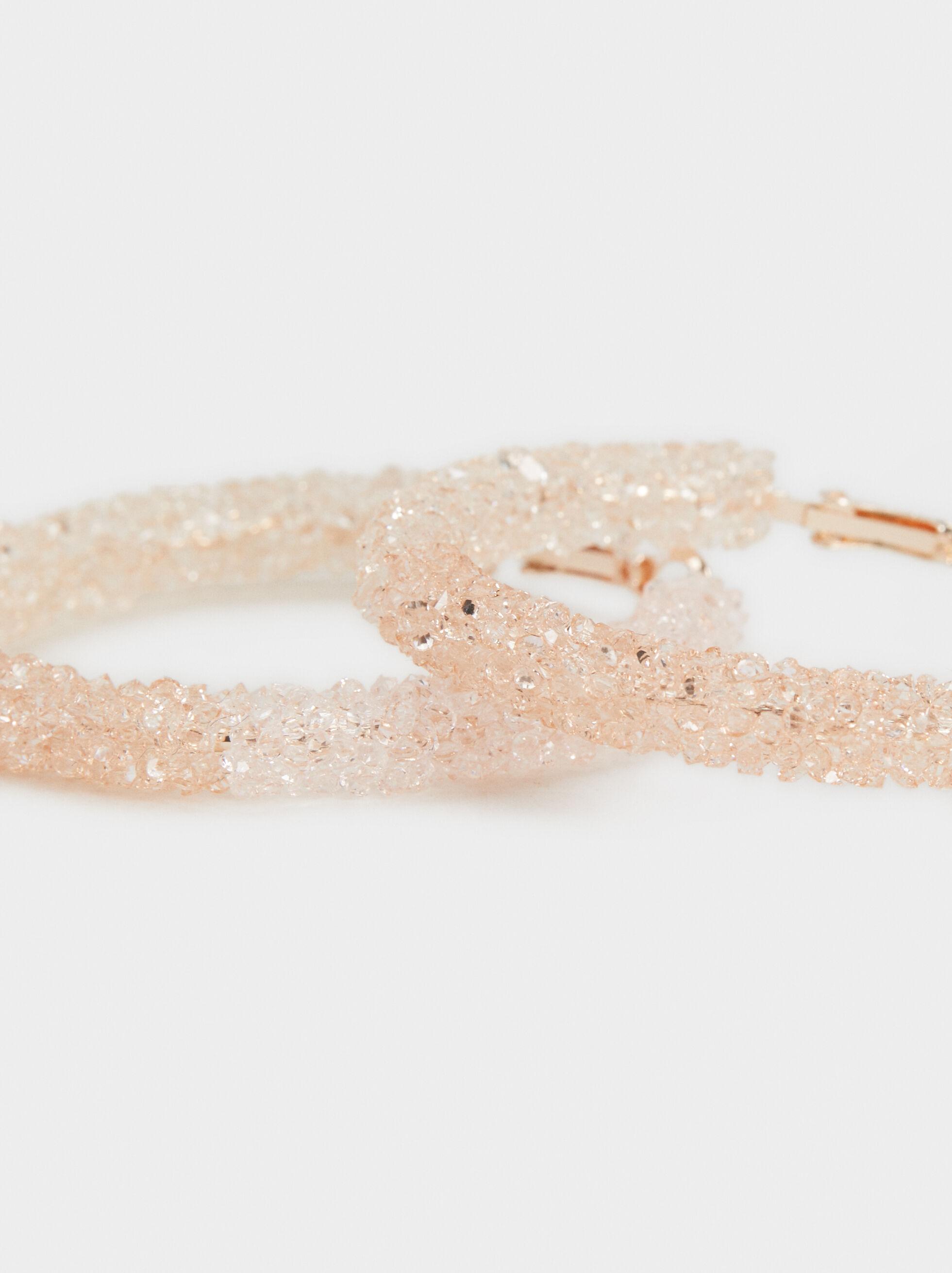 Pink Desert Large Bejewelled Hoop Earrings, Multicolor, hi-res