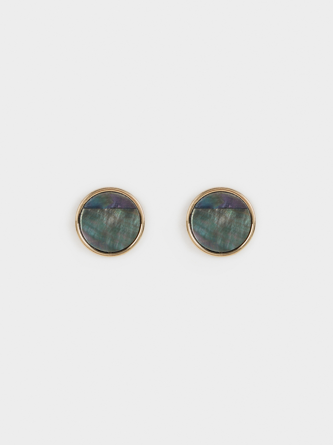 Blog Short Earrings, Golden, hi-res