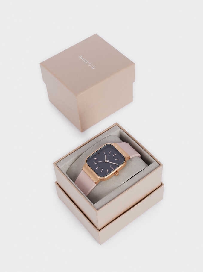 Reloj Correa De Silicona Caja Cuadrada, Rosa, hi-res