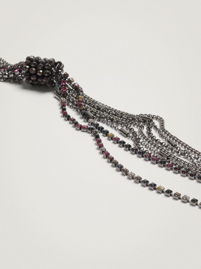 Long Necklace With Crystals, Multicolor, hi-res