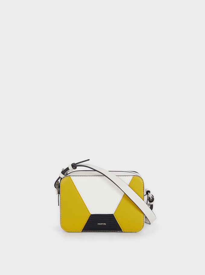 Patchwork Crossbody Bag, White, hi-res