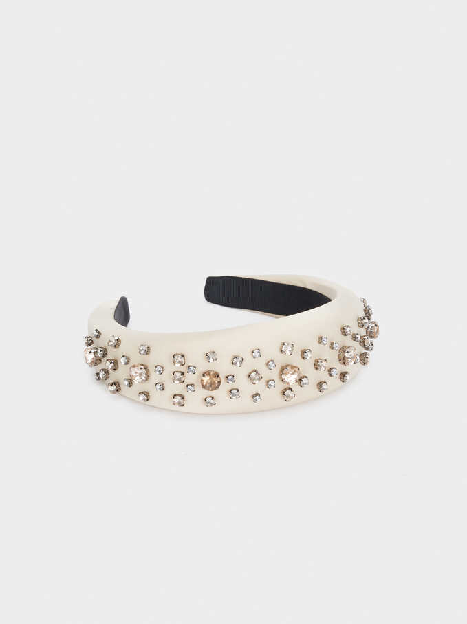 Headband With Contrast Rhinestones, Beige, hi-res